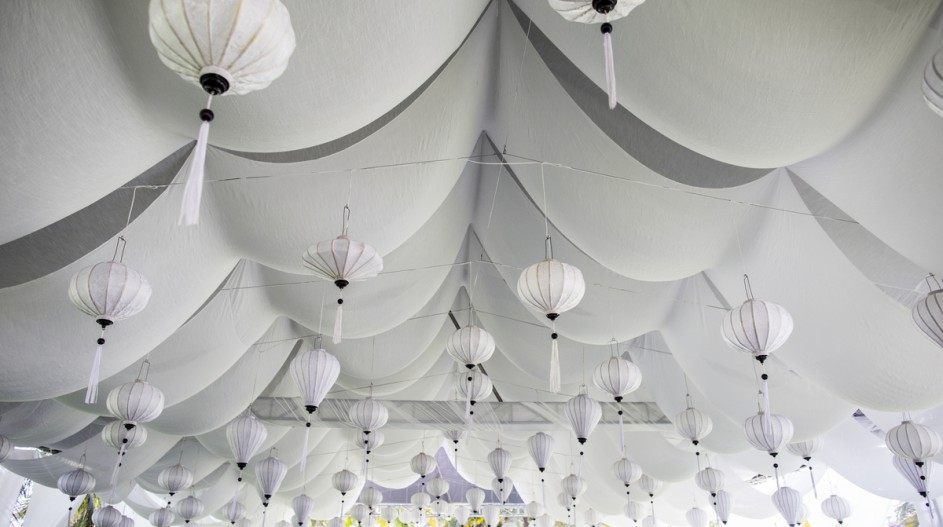 All-white Wedding Marquee with Lanterns | Hoi An, Vietnam
