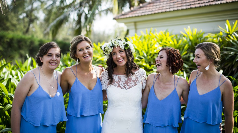 Beach Wedding with Light Blue Bridesmaid Dresses | Hoi An, Vietnam