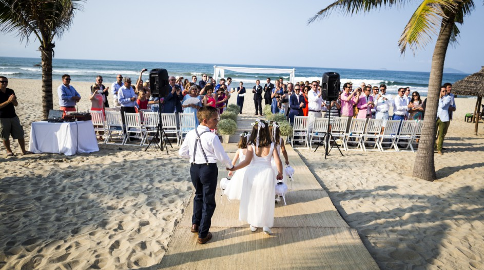Boardwalk Beach Wedding with Palm Trees | Hoi An, Vietnam