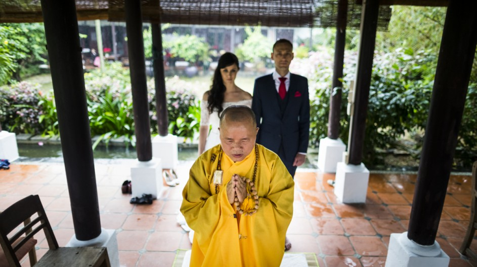 Buddhist Blessing Ceremony with Traditional Monk and Pagoda | Hoi An, Vietnam